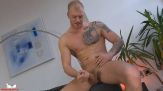 big beefy blond stud jerks off