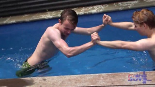 aussies boys horse playing naked in pool