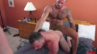 muscle daddies fuck each other bareback