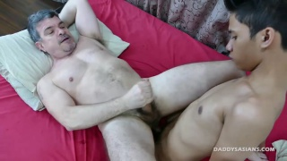 daddy jerks off while asian boy fucks him