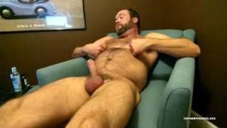 hairy daddy loves playing with his nipples