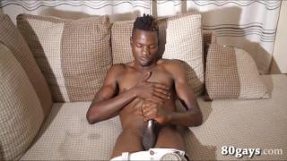 chiseled african stud jacks his dick