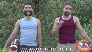 hairy and bearded straight dudes frolic naked outdoor