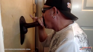 daddy gulps a BBC at his glory hole