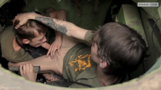 twink soldiers have sex in their tank