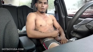 scruffy guy jerks off in his car