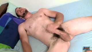 sexy straight guy with bushy pubes strokes his cock