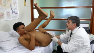 asian boy gets his ass probed by doctor