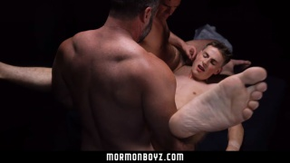 young mormon gets spit roasted by two hung daddies