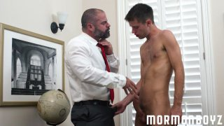 mormon daddy makes young lad strip in his office