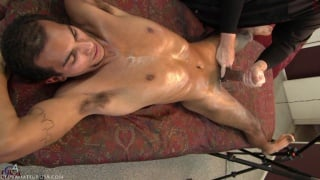 guy gets an amazing handjob on massage table
