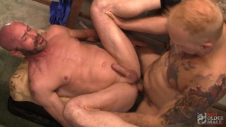 blond cub fucks his daddy's ass in the garage