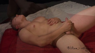 good-looking blond czech hunk strokes his cock