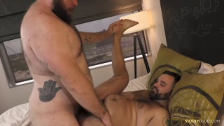 bear gags on his buddy's cock then his throat relaxes