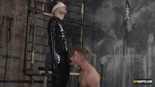 cute guy wrapped in plastic gets long teasing blowjob