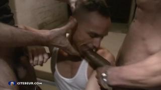 boy in wife beater sucks two dicks