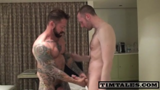Masculine tattooed man gets banged