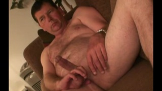 hairy daddy tugs on his nuts while jerking off