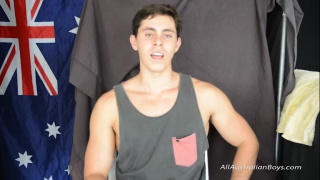 handsome hung dark-haired aussie's first gay blowjob
