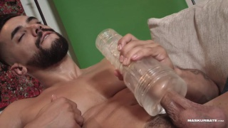 bearded arab hunk plays with a fleshjack