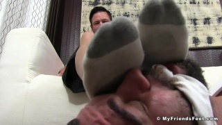bound bearded man worship guy's socked feet