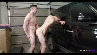 guy leans over his car in garage and gets fucked