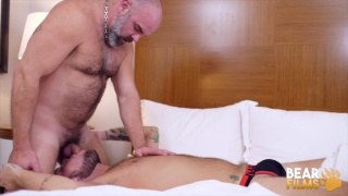 sexy daddy throat fucks cocksucker over edge of bed