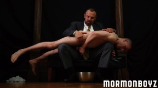 mormon boy goes over daddy's knee for some bum fun