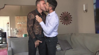 men kiss and get into some foot worship