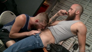 bald bearded straight hunk gets blown in his office