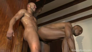 Two bearded gay dudes are sucking hard dick