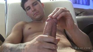 handsome navy stud strokes his fat cock