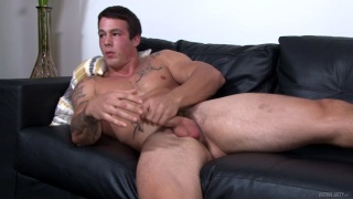 beefy guy finally gets his balls to unload