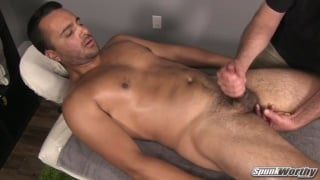 sexy bearded guy gets fingered on massage table