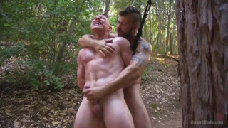 guy gets jumped and strung up naked in the woods