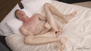 blond guy dildo fucks himself during JO session