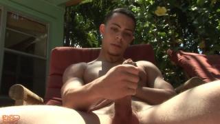 fine-looking miami stud jerks off outdoors