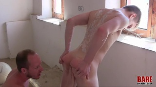 fit young twink takes two big dicks