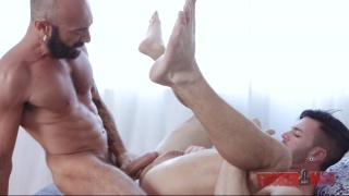 sexy bearded italian shoves his XXL cock in bottom's ass