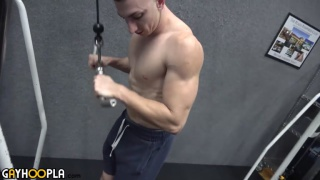 ripped gym jock works out and jerks off
