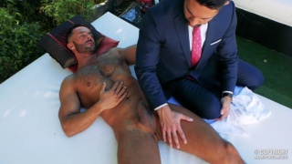 suited executive services naked hunk by the pool