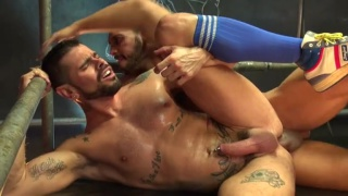 inked spanish bottom gets fucked in his athletic socks