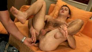 Black dildo in hairy man ass