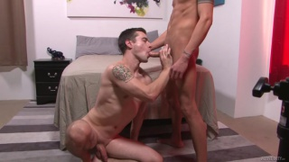 guy is all over this sexy cock and taking it deep in his throat
