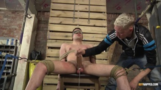 guy with huge cock tied up and edged til he cums