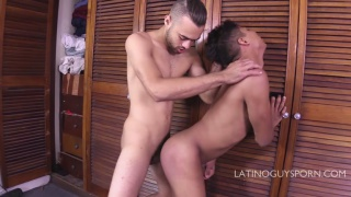 latino guy gets ass fucked against the wall