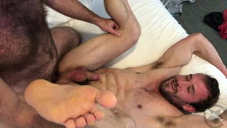 bottom takes a super fat curved uncut cock up his ass