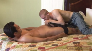 guy face fucks another with his big uncut cock