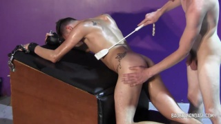 master drags his boy by the hair