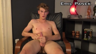 blond guy Emil Panek strokes his uncut cock